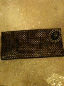 Basket Woven small clutch with Broach $15