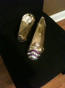 Gold flats with purple and green sparkles $20