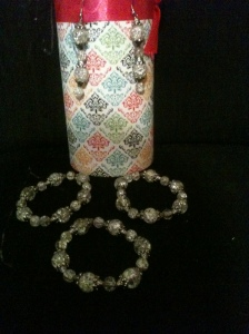 glass bead bracelet and earring set $40; or $12 ea piece